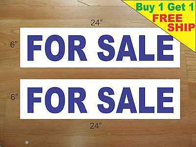 For Sale Blue 6x24 Real Estate Rider Signs Buy 1 Get 1 Free 2 Sided