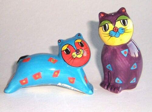 Large Stylized Colorful Cats Ceramic Set of Salt & Pepper Shakers Nice Condition