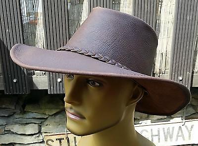 Hut Australien (gr M L XL dickes Büffel Leder Hut braun Australien Reduziert von 79,99)