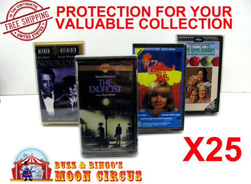 25x VHS MOVIE SMALL CLAMSHELL (SIZE B) CLEAR PLASTIC PROTECTIVE BOX PROTECTORS