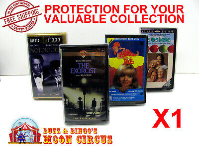1x VHS MOVIE SMALL CLAMSHELL (SIZE B) CLEAR PLASTIC PROTECTIVE BOX PROTECTORS