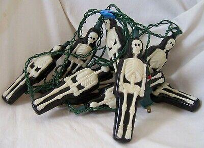 VTG Plastic Blow Mold 10 Full Body SKELETON Halloween String Lights PRIMAL LITE