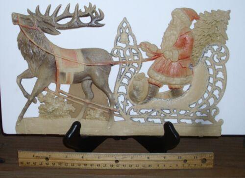 Antique German HUGE Die Cut Santa Sleigh Deer pre WWI