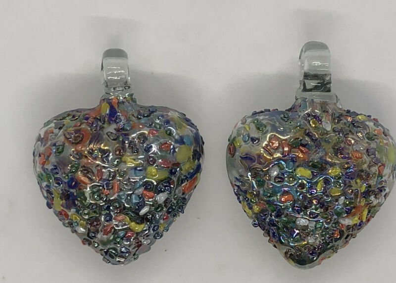 Lot of 2 Fused Art Glass Multicolor Textured 3D heart Ornaments