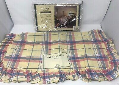 """Vintage Laura Ashley Home Euro Pillow Sham Plaid Yellow Pink Blue Ruffled 26""""x26 Laura Ashley Plaid Quilt"""
