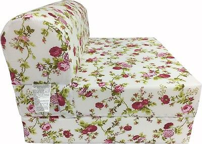 - Red Roses White6 x 36 x 70 Sleeper Chair Folding Foam Bed Guest Studio Sofa Beds