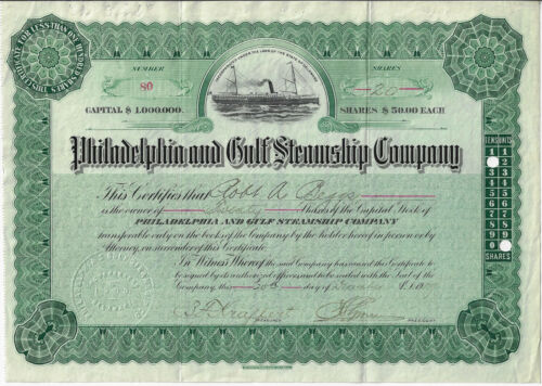 PENNSYLVANIA 1909 Philadelphia & Gulf Steamship Company Stock Certificate #80