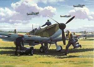 RAF-Spitfire-2nd-world-war-Battle-of-Britian-scamble-greeting-card-Aviation-art