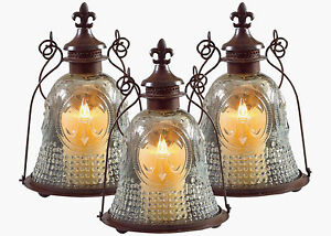 NEW SET OF 3 VINTAGE LK CLEAR GLASS/ METAL FLEUR DE LIS LANTERN CANDLE HOLDERS!
