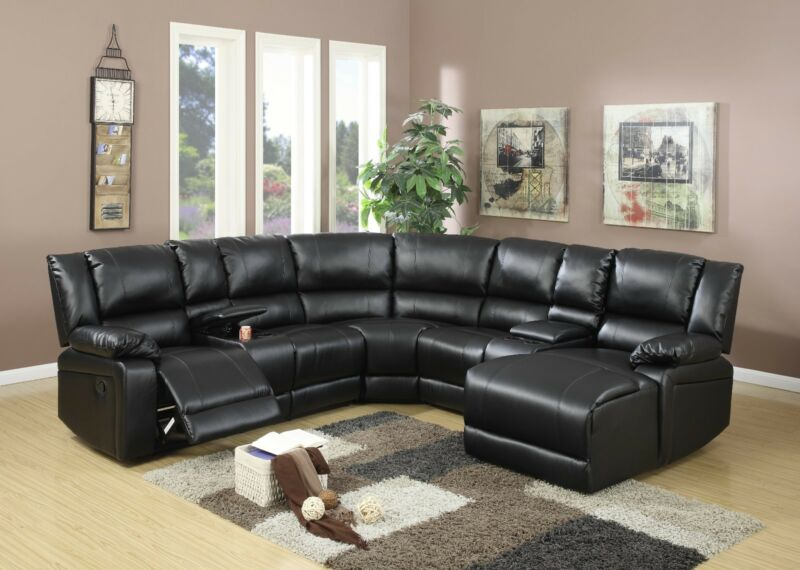 5pc Motion Sectional Set Loveseat W Console Wedge Chair Push Back Chaise Black