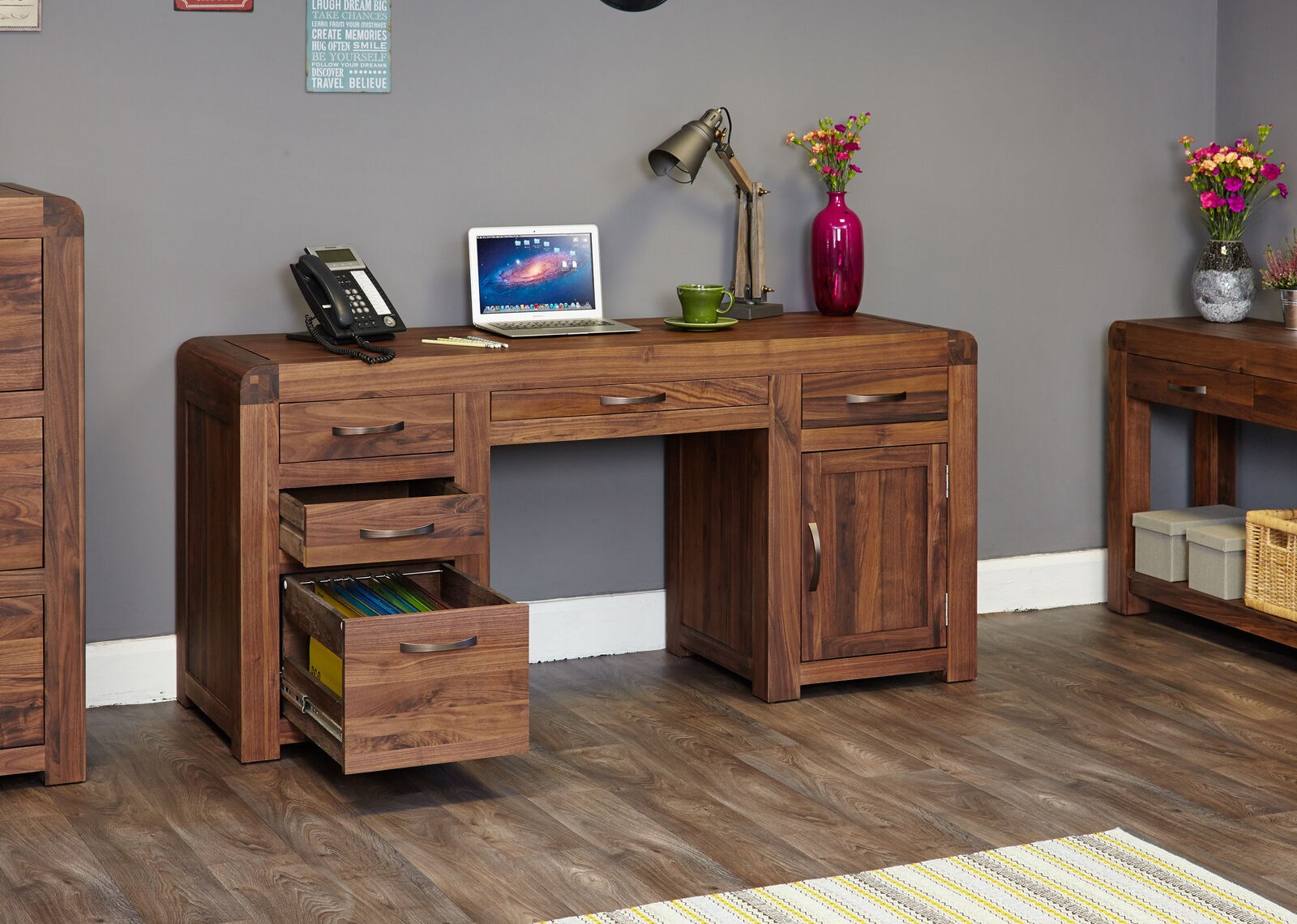 Shiro Premium Dark Wood Computer Desk Double Pedestal Office Modern Solid Walnut