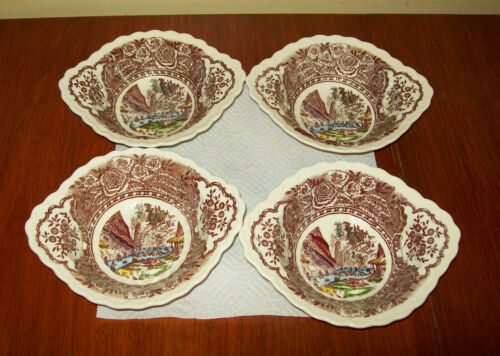 Vernon Kilns 1860 - 4 Lugged Soup Bowls plus 2 bonus demi saucers