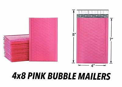 Poly Mailers Self Adhesive New Pink 4x8 Padded With Bubbles Small Bags Shipping