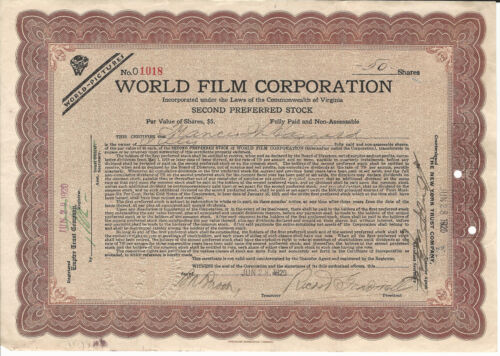 1920 NEW JERSEY World Film Corp Stock Certificate Early Silent Films Fort Lee