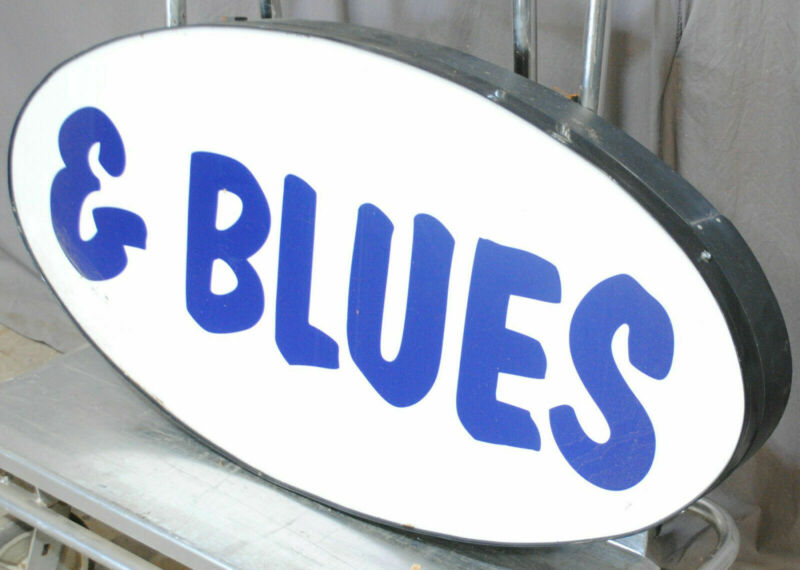 "Large Commercial LED Sign, ""& Blues"" BBQ Restaurant Salvage, 4 Foot x 2 Ft"