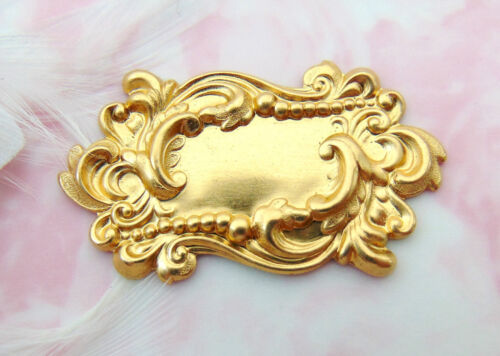 BRASS (2 Pieces) Victorian Scroll Plaque Stamping ~ Jewelry Finding (FA-6055)