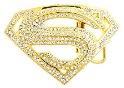 Superman Gold Tone w/ Cubic Rhinestones Metal Belt Buckle
