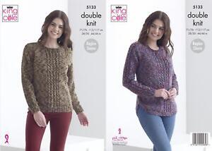 King Cole 5133 Knitting Pattern Womens Raglan Cable Sweaters in Meadow DK