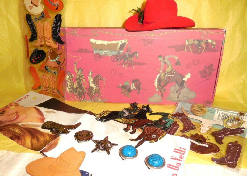 Cowboy Treasure Lot Western Bronco Boots Sheriff Star 10 Gallon Hat Stickers