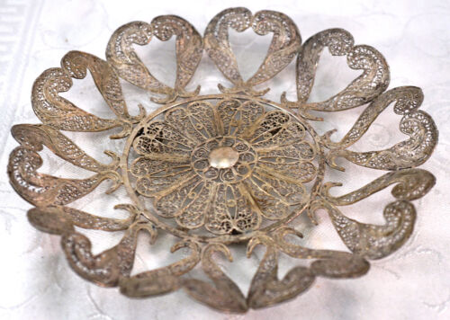 Spanish Filigree Silver Dish Arte Cordobes Torremolinos Intricate Wire Work