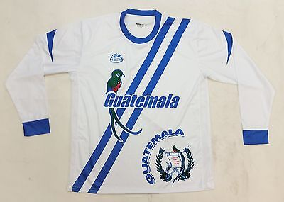 Guatemala 2016 New Arza Soccer Jersey White Blue Long Sleeve image