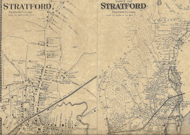 Stratford Lordship CT 1867 Map with Homeowners  and Business Names Shown