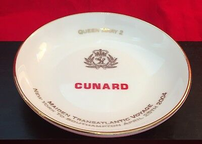 "Rare Queen Mary 2 Maiden Voyage 2004 Trinket Dish Cunard Wedgewood Bone China 4"""