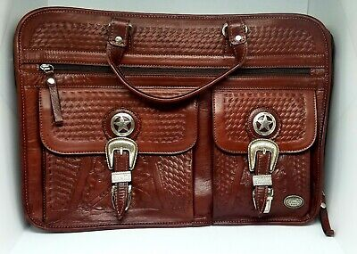 American West Stagecoach Hand- Tooled Multi compartment laptop briefcase Brown American West Leather Briefcase