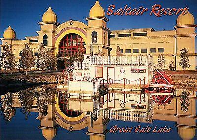 Saltair Resort, Great Salt Lake Utah, Sunrise, Water Reflection, City - Postcard