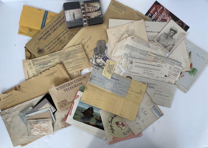 Huge WWII War Dept, Map, Correspondence, Telegram, Tags, ID Photo/Paperwork Lot