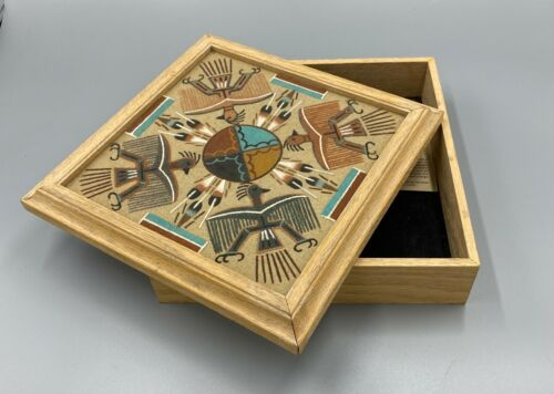 """""""Monster Slayer"""" Navajo Indian Sand Painting Memory Box - Signed C. Cambridge"""