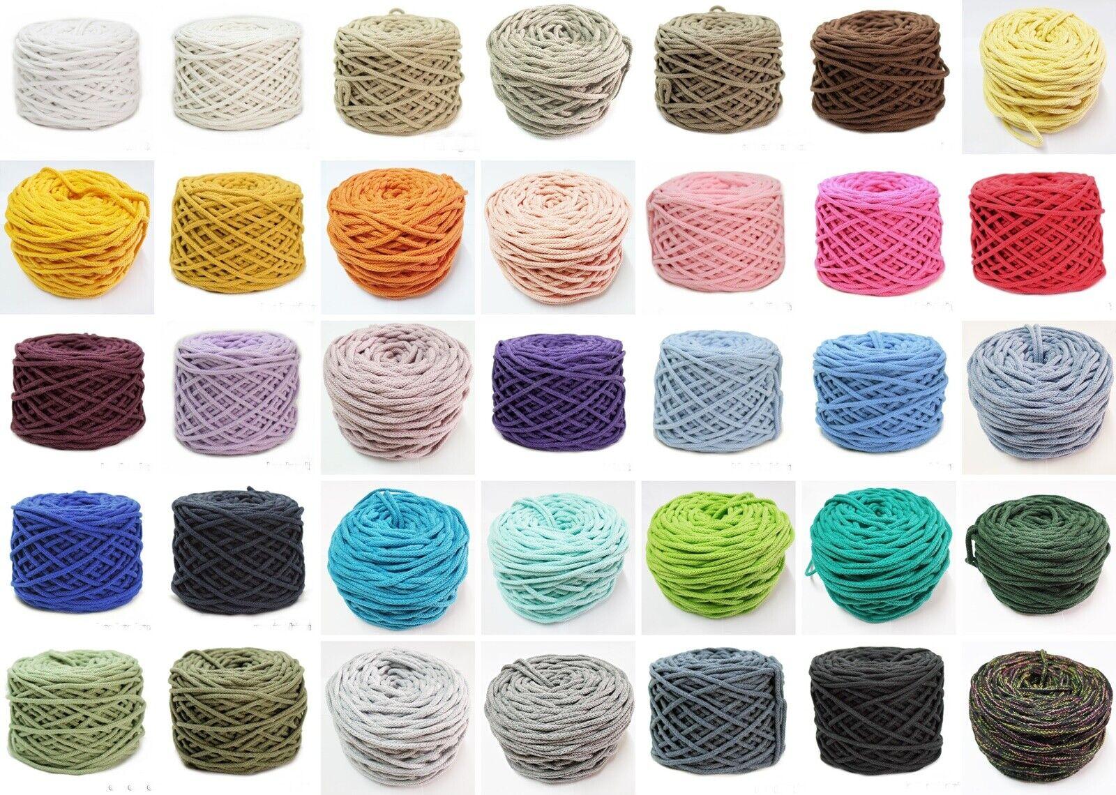 5 10 20 Meter Baumwollkordel mit Kern 5mm Kordel Schnur Baumwolle viele Farben