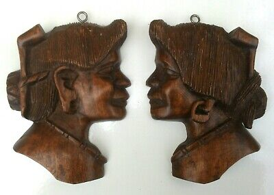 Vintage Pair Hand Carved Wooden Wall Masks Plaques Ornaments female heads