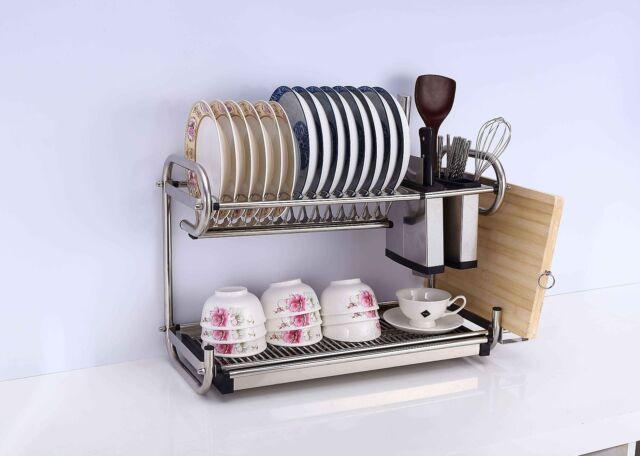 2 Tier Layers Stainless Steel Dish Plate Rack Kitchen Organizer Drainer No Rust