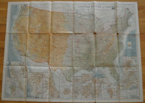 1923 UNITED STATE of AMERICA MAP The National Geographic Magazine