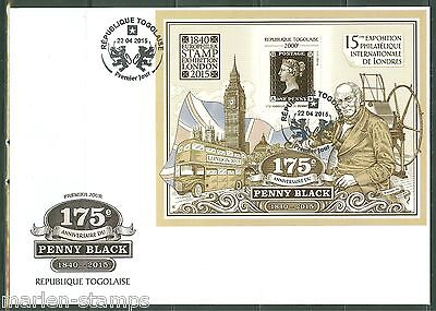 TOGO  2015  175th ANNIVERSARY OF THE PENNY BLACK LONDON 2015 STAMP EXPO S/S FDC