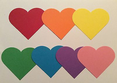 70 x 8.90cm Brightly Coloured Diecut Hearts. Card Making/Scrapbooking