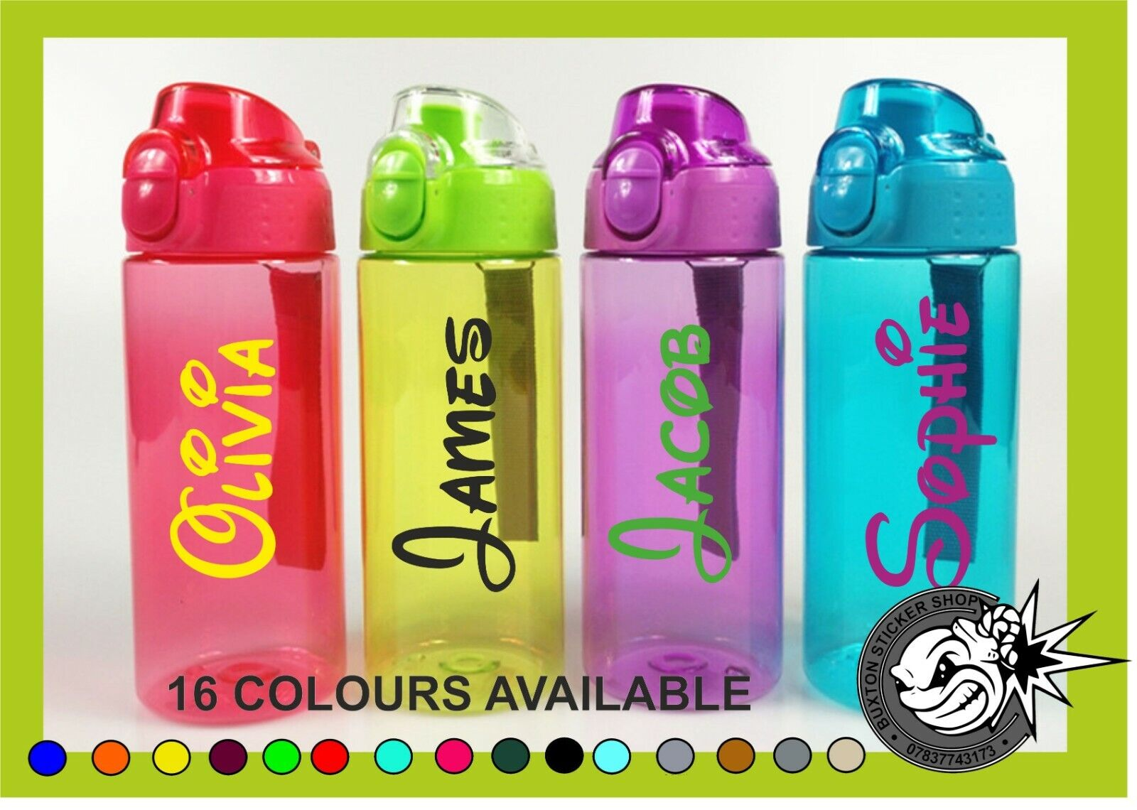 2 x Personalised Custom Name Vinyl Label sticker for Drink Water Bottle Tablet 2