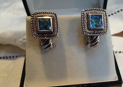Sterling Blue Topaz Signed CI Classic design Omega Back  Earrings 2.6 TCW (Design Omega Back Earrings)