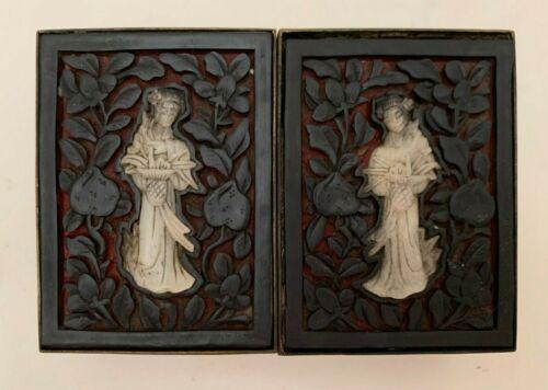 Antique Chinese Bronze Box with Carved Black Cinnabar Top & Jade Geisha Figures