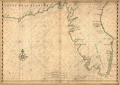 A4 Reprint of Shipping Coastal And Seas Map Florida
