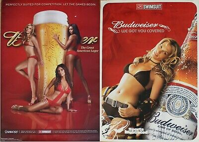 Lot 43 Budweiser Beer Posters SI Swimsuit Got U Covered and 2008 Olympic Girls