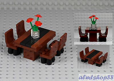 - LEGO - Formal Dining Table w/ 4 Chairs & Flowers Minifigure Home Room Furniture