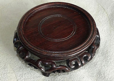 Beautiful Antique Chinese or Japanese Hardwood Stand  with Fine Carving
