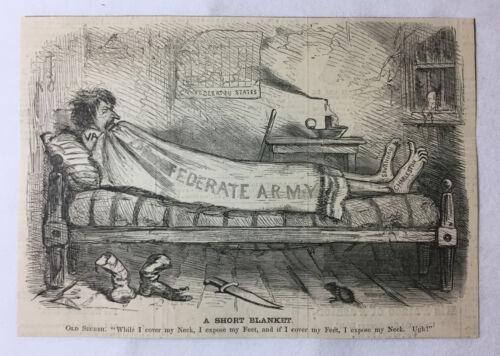 1861 newspaper cartoon ~ A SHORT CONFEDERATE BLANKET ~ Civil War