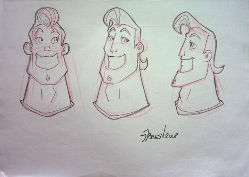 "SUPERHERO Signed JAMES ARTIST Hand Drawn Graphite Cartoon Concept Art 8.5""x11"""
