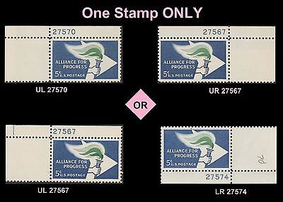 Us 1234 Alliance For Progress 5C Plate Single Mnh 1963