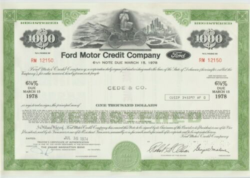 1974 Ford Motor Credit Company Bond Stock Certificate