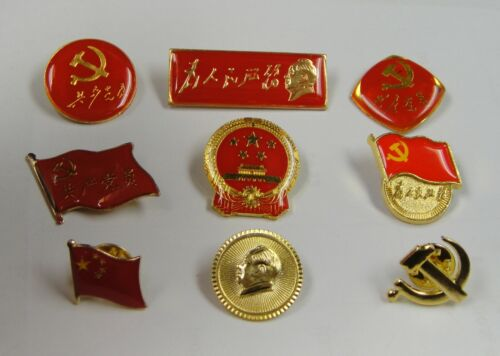 9 Pins for Mao, China National Flag / Emblem,Party Emblem of the Communist Party