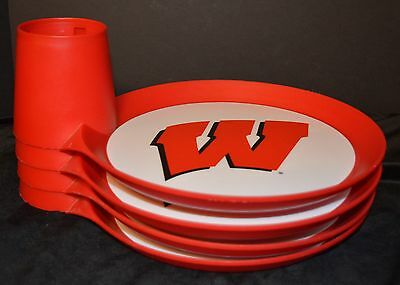 (4) WISCONSIN BADGERS TAILGATE PAPER PLATE HOLDERS Drink/Cup Buffet Buddy Caddy](Paper Plate Caddy)